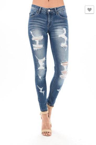KanCan Distressed Skinny Jeans- Medium Wash