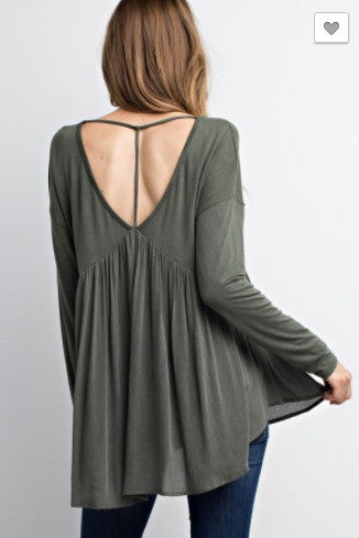 SALE- Ruffle It Up Top- Olive