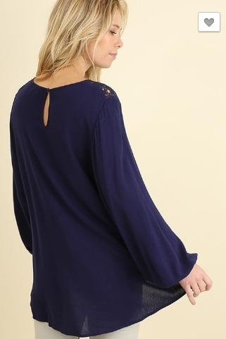 SALE- Sass and Class Top- Navy