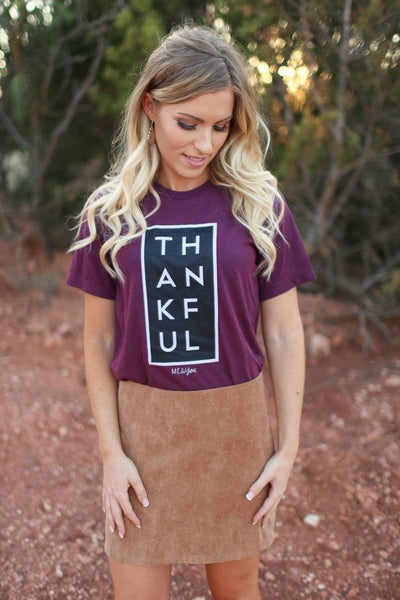 Thankful Tee- Cranberry