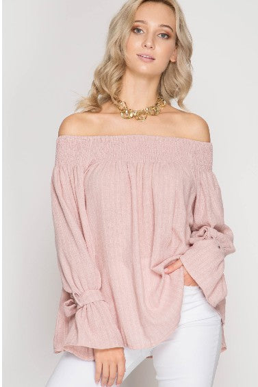 The Sweet Life Off the Shoulder Top- Rose