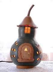 Hand-Painted Decorative Cottage Gourd