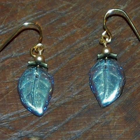 Glass Leaf Smoked Topaz Color Earring