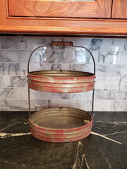 red 2 tier serving caddy oval trays in distressed red