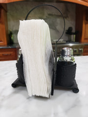 Napkin and Shaker Holder Black Tin   Shakers Included