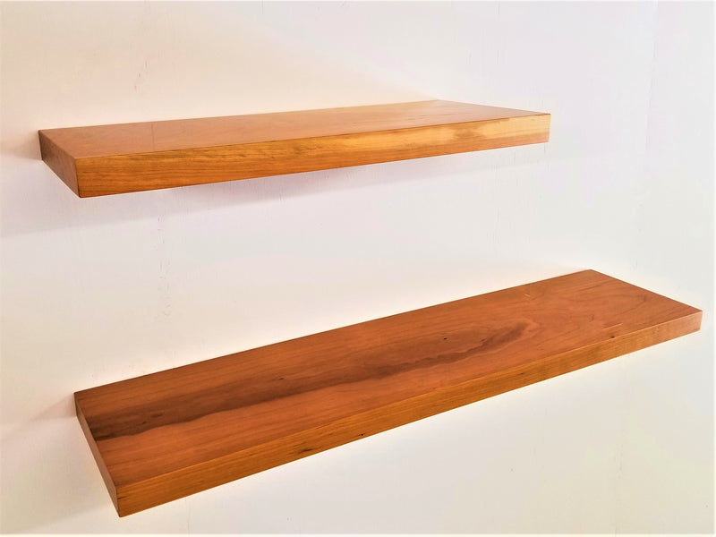 Solid Cherry   Flat-Edge Floating Shelf Kit