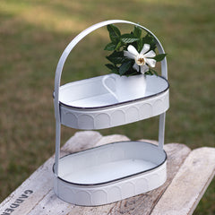 oval white two tier tray treasuredcountrygifts.com