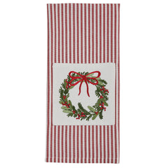 treasuredcountrygifts.com christmas wreath embroidered dish towel