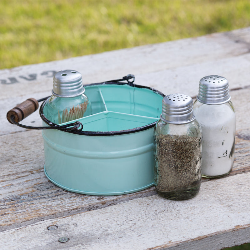 treasuredcountrygifts.com seafoam salkt pepper and toothpick round bucket caddy
