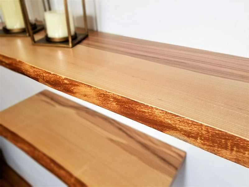Solid Ash Live-Edge Floating Shelf Kit