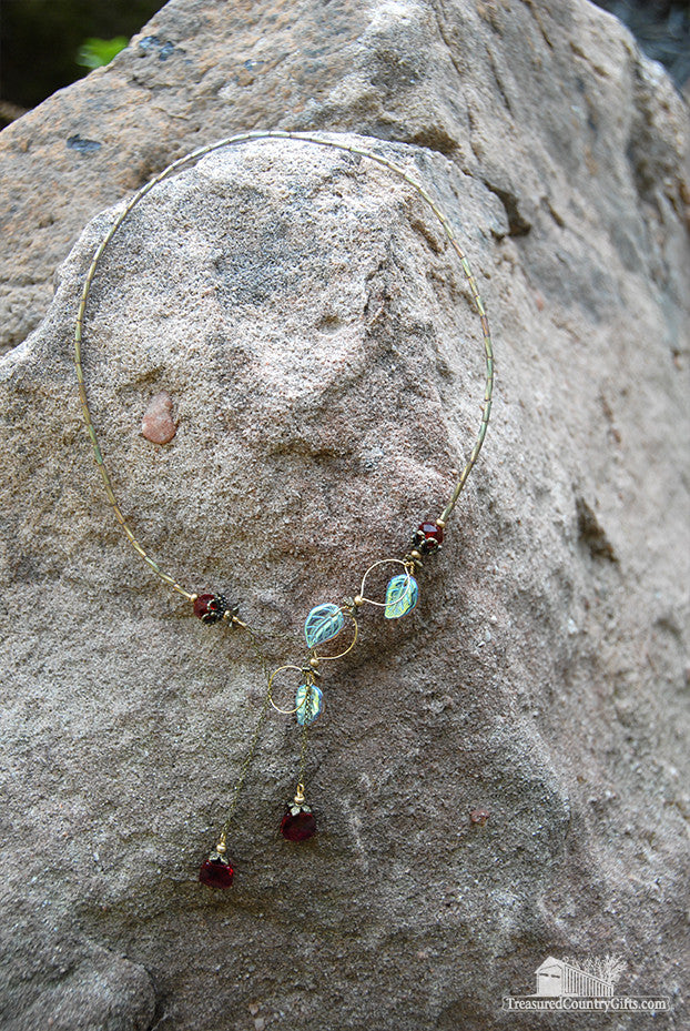 Cranberry Waterfall Handmade Necklace