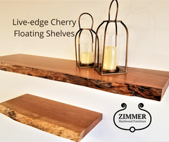 Solid Cherry   Live-Edge Floating Shelf Kit