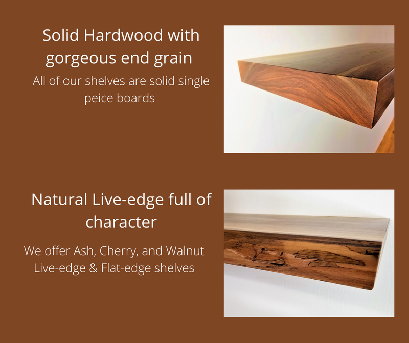 Solid Black Walnut Live-Edge Floating Shelf Kit