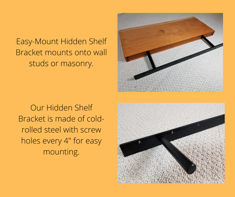 Solid Black Walnut Flat-Edge Floating Shelf Kit