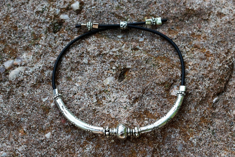 Silver Bead and Arc Handmade Bracelet