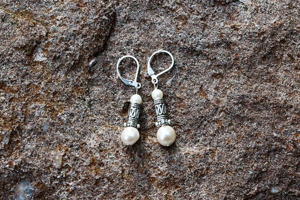 Pearl with Silver Bead Handmade Earrings