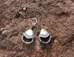 Silver Cap and Ring Earring