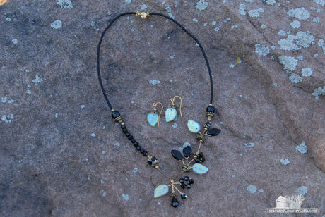 Onyx Necklace and Leaf Earring Set