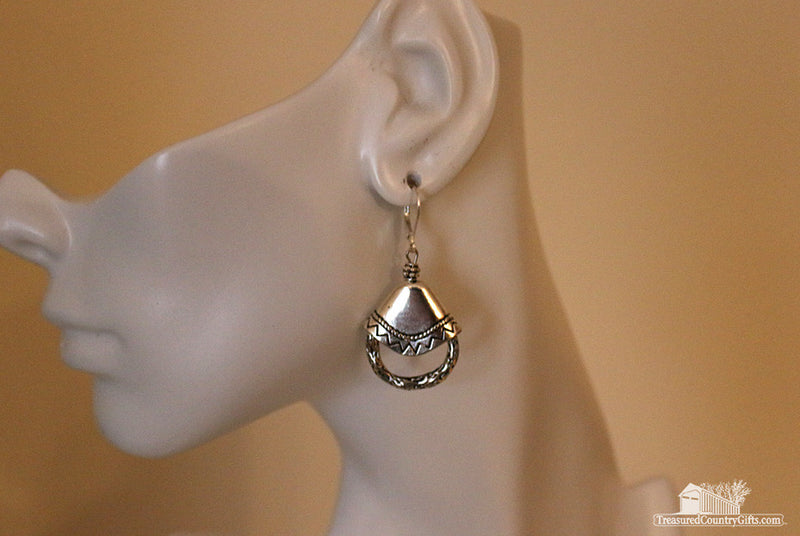 Silver Cap & Ring Earring