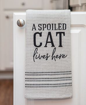A Spoiled Cat Lives Here Dish Towel