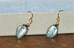 Glass Leaf and Smoked Topaz Handmade Earrings