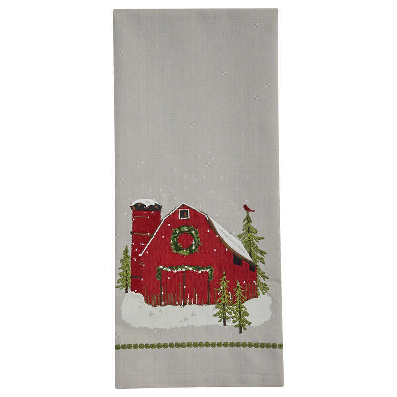 Country Barn Embroidered Dishtowel / Holiday
