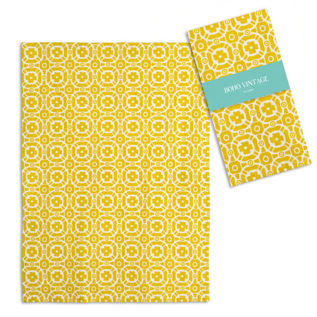 Boho Tea Towel Vintage Look Golden Yellow