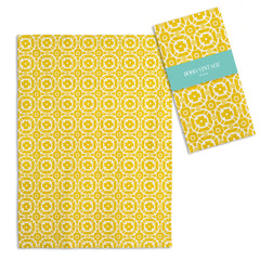 Boho Tea Towel Vintage Look Golden Yellow TCG