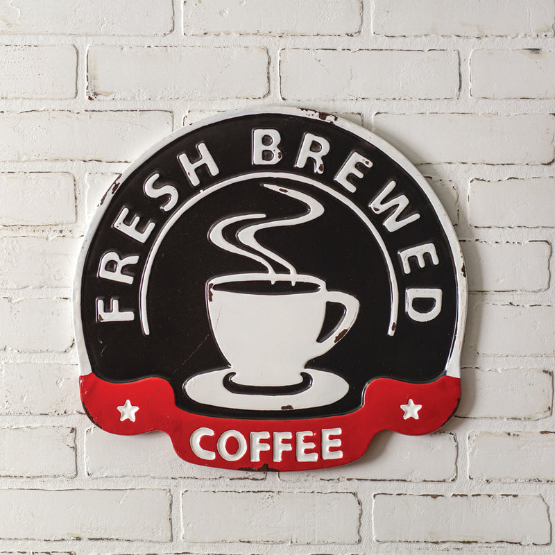 treasuredcountrygifts.com fresh brewed coffee metal  sign