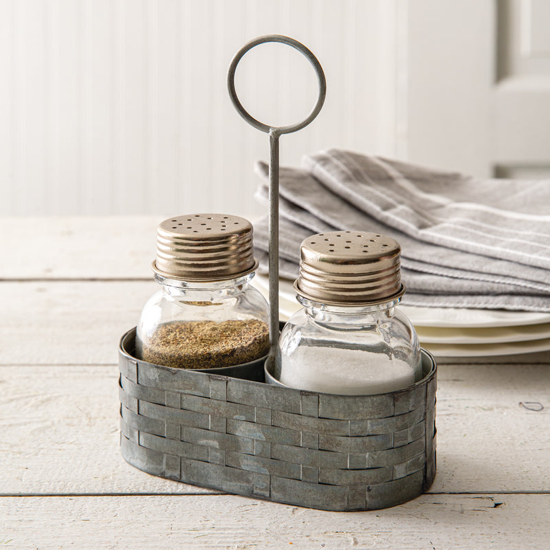Galvanized Salt and Pepper Caddy with Salt and Pepper Shakers