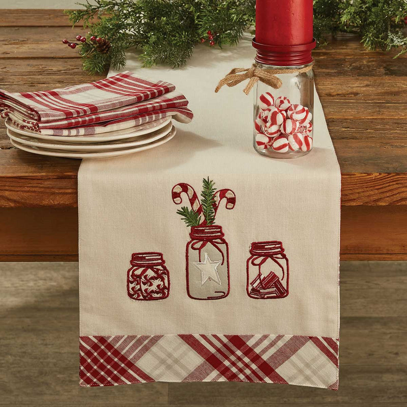 "Candy Cane in Mason Jar Table Runner 36"" Long"