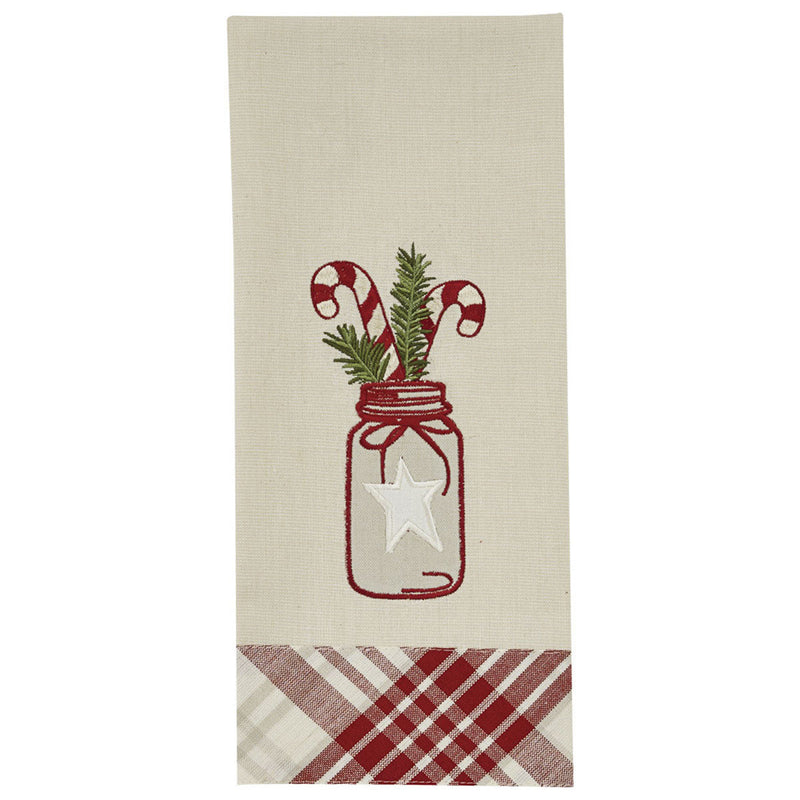 Candy Cane in Mason Jar Dish Towel
