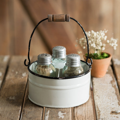 White Bucket Salt Pepper Toothpick Caddy