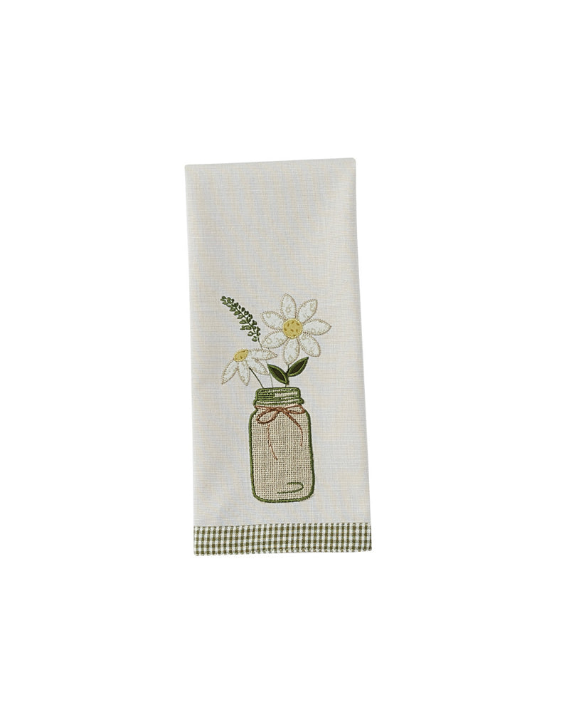 treasured country gifts.com mason jar daisy dishtowel