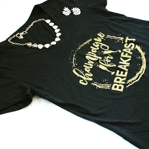 Champagne for Breakfast, Metallic Gold Womens VNeck Shirt