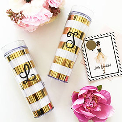Gold Stripe Monogram Tumbler