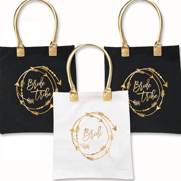 Bride Tribe Tote With Gold Handles