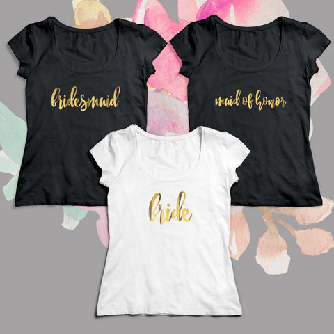 Bridal Party Gold Foil Scoop Shirt