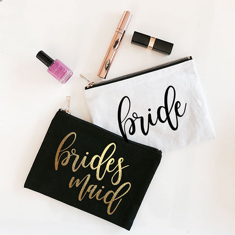 Bridal Party Cosmetic Canvas Bag