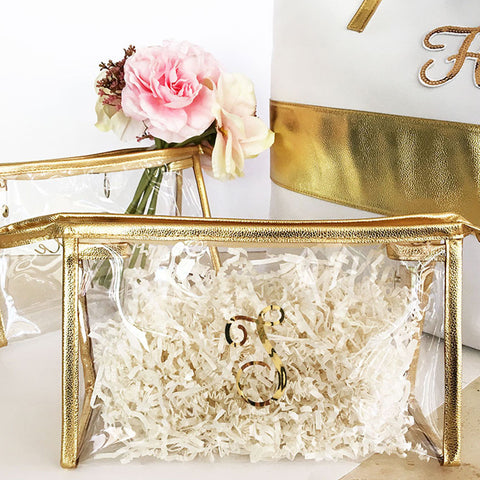 Gold Monogram Cosmetic Bag