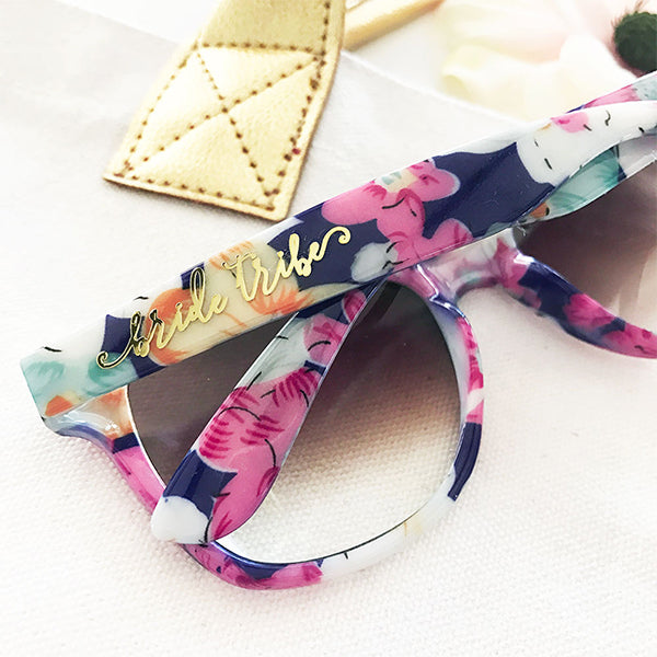 Floral Gold Bride and Bride Tribe Sunglasses