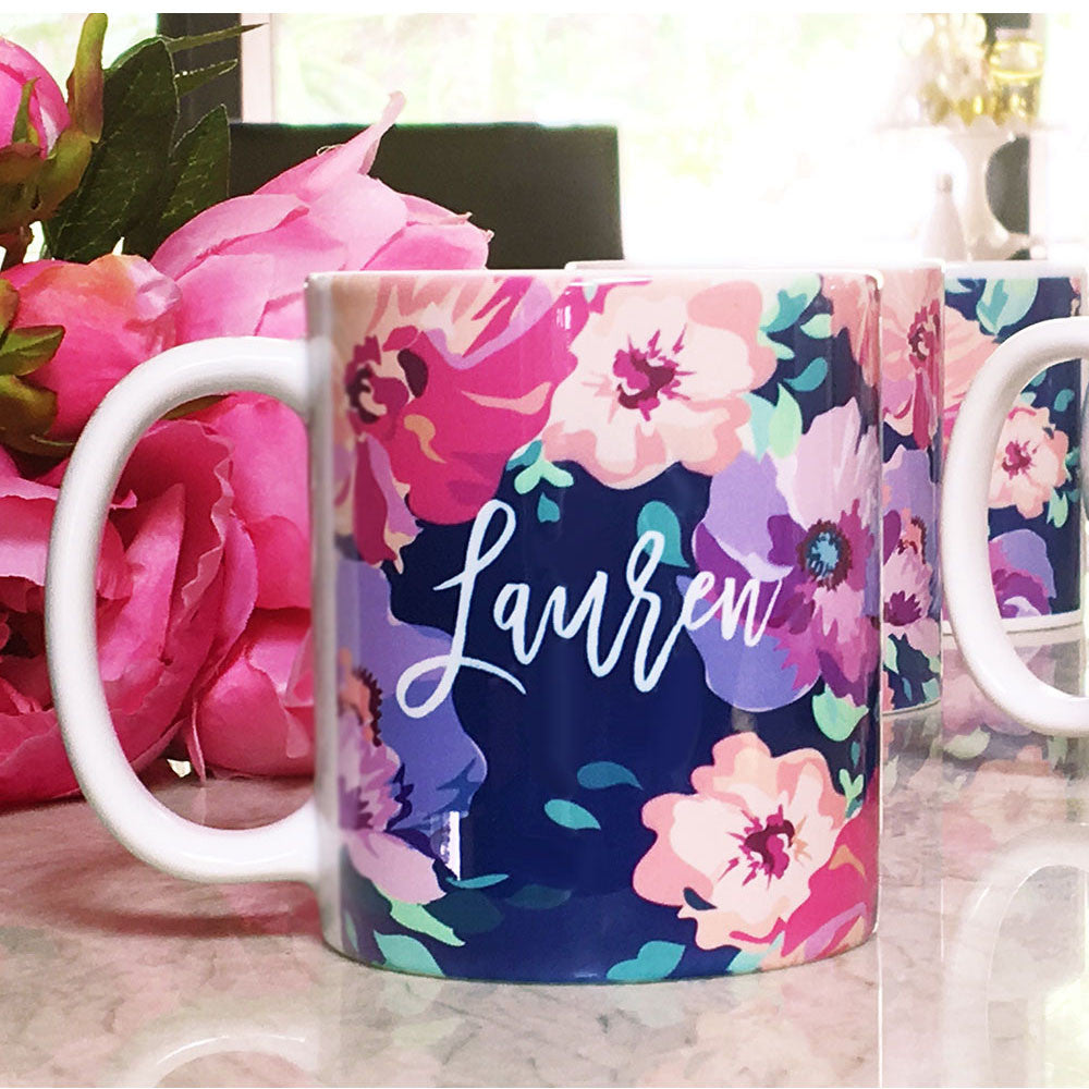 Floral Coffee Mug Personalized Name