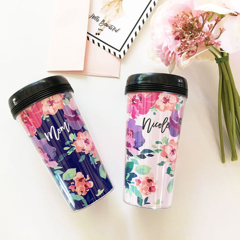 Coffee Floral Personalized Travel Mug