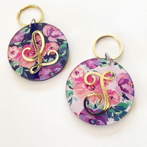 Floral Monogram Key Chain