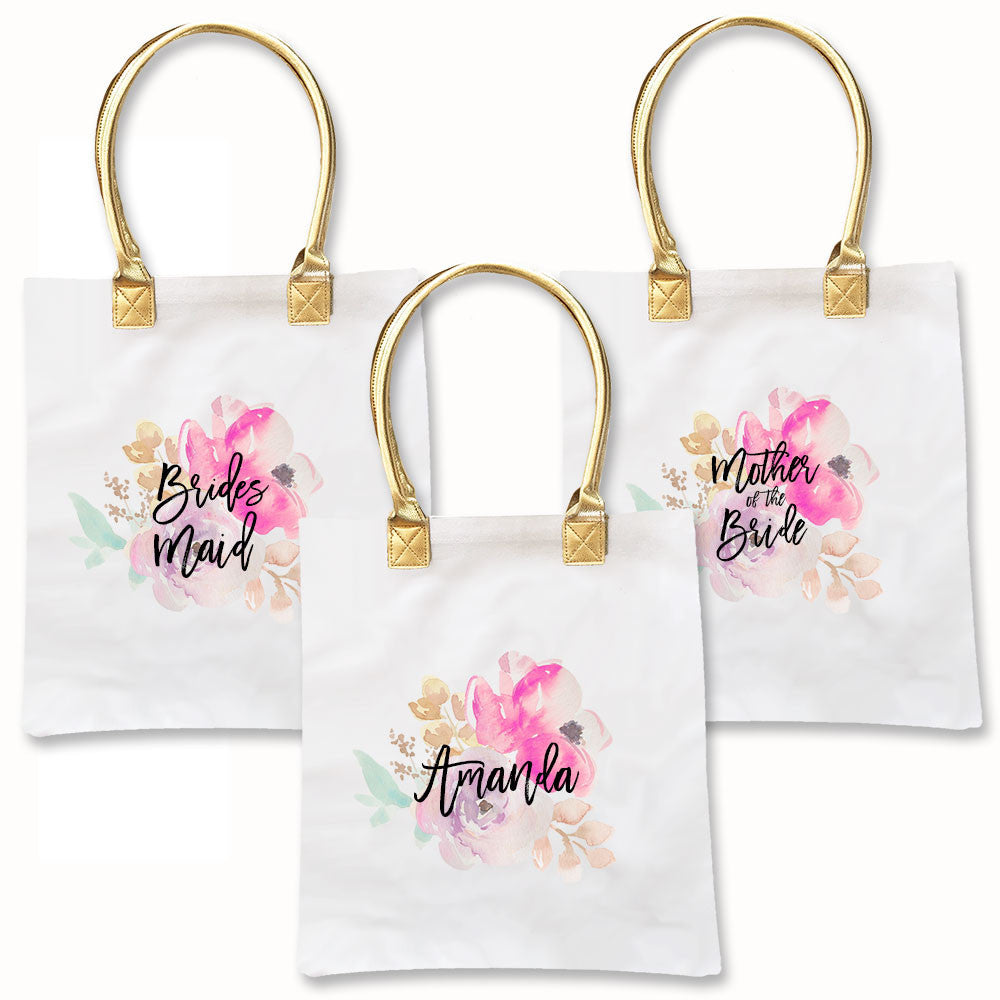 Bridal Party Floral Watercolor Tote