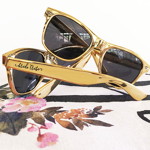Bride or Bride Tribe or Squad Gold Sunglasses
