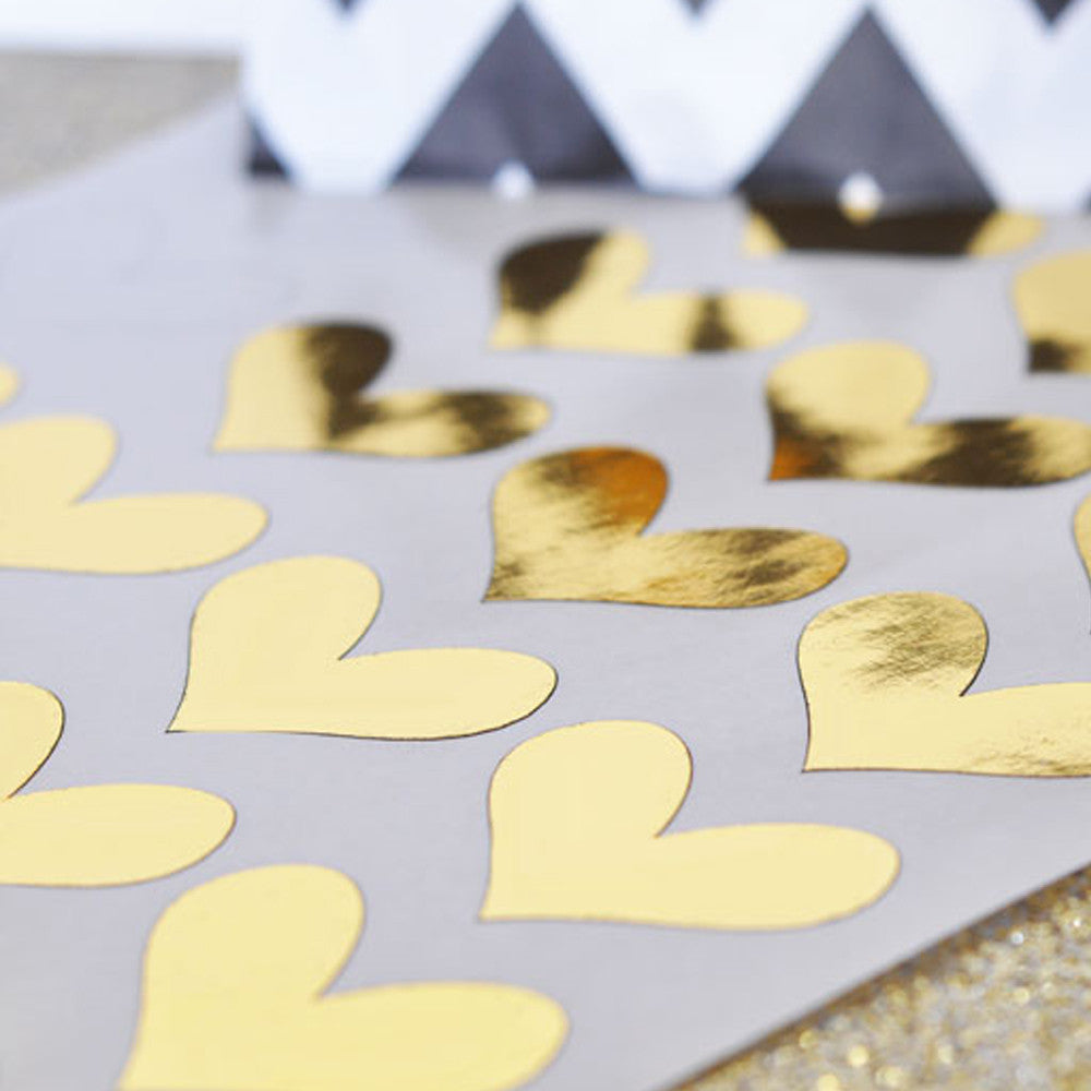 Gold And Silver Foil Heart Stickers (set of 24)
