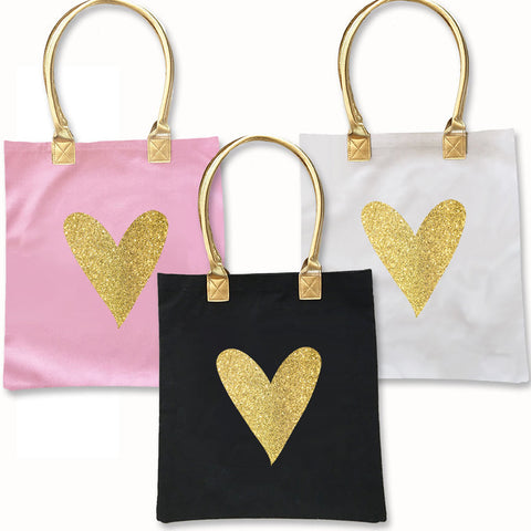 Gold Glitter Heart Tote Bag