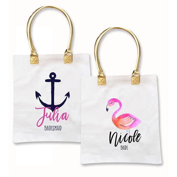 Personalized Name Tropic Beach Canvas Totes