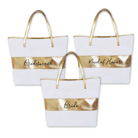 Gold Stripe Bridal Party Tote
